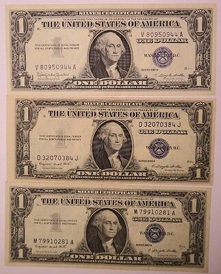 Lot of 3 - 1935 G, 1957 A & 1957 B Series $1 Silver Certificates