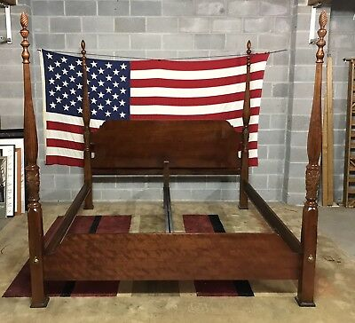 Dixie - Solid Cherry King Size Rice Carved Bed With Flame Finials Very Nice