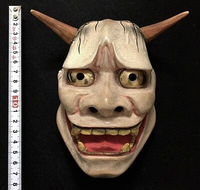 Miniature Japanese mask of HANNYA  Noh Kabuki Oni Demon Evil Wooden