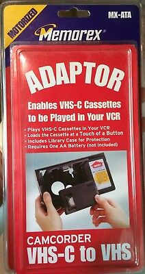 VHS-C To VHS VCR Adapter Converter Motorized Memorex NEW