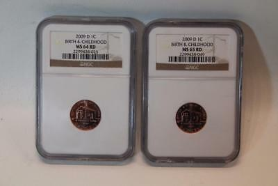 Lot of 2 NGC 2009 D 1C Lincoln Pennies (MS 64 RD and MS 65 RD) One Cent Coins