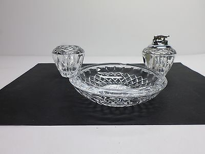 "Vintage RETRO ""PRINCESS HOUSE"" LEAD CRYSTAL ASHTRAY SET - Lot of Three (3) items"