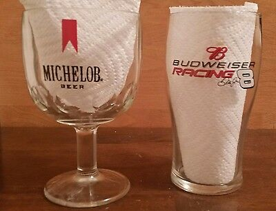 (2) Collectible Beer Glasses, Michelob Goblet, Budweiser Racing Glass VGC