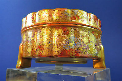 Antique Japanese Meiji Period Signed Satsuma Thousand Flower Pot And Cover