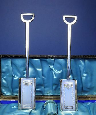 Vintage Art Deco Silver Miniature Spade Pair Novelty Sugar Shovels Caddy Spoons