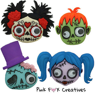 Zany Zombies Dress It Up Novelty Craft Buttons Monster Goth Halloween Girl Frank