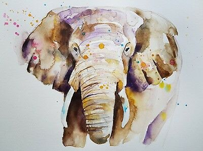 "Elle Smith Art.new Original Rare Wildlife Watercolour Painting. 16X12"" Elephant"