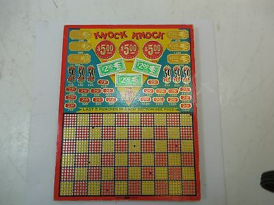 Vintage Knock Knock Punch Board Game Gambling Lottery Union Made Hamilton Mfg Co