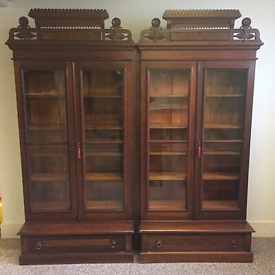 Matched Pair of Antique Victorian Eastlake Walnut Step Back Bookcases / Cabinets