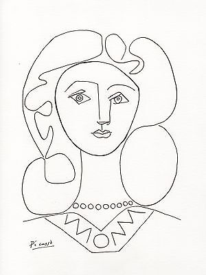 """Pablo Picasso Pen and Ink Drawing """"WOMAN WITH CURLY HAIR"""""""