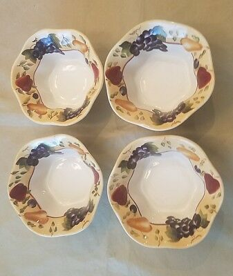 Set of 4 Sonoma Villa By Home Interiors Soup/Cereal Bowls Earthenware ~ Fruit