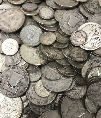 $2 Face Value 90% Average Coin Mixed Lot Dimes Quarters Half Dollars Pre-1965