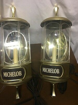 TWO 1982 Michelob Light Beer Crystal Lamps / Wall Sconce Light / Sign