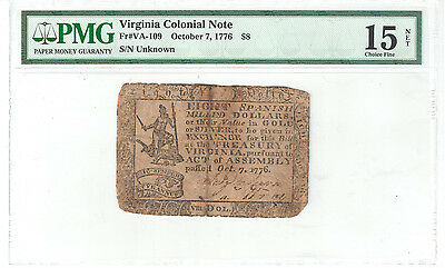 Virginia Colonial Note Oct 7, 1776 $8 PMG F15 NET Fr#VA-109