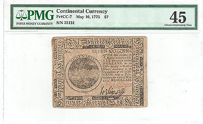 Contiental Currency $7 May 10, 1775 S/N 35131 - PMG EF45 Fr#CC-7