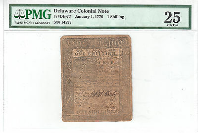 Delaware Colonial Note Jan 1, 1776 1 Shilling PMG VF 25 Fr#DE-73