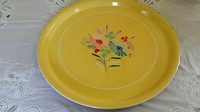 Vintage Hand Painted Ransburg Metal Tray Serving Platter yellow Floral