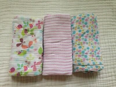 Aden & Anais Muslin Blanket Lot 3 Swaddling Blankets 100% Cotton Soft