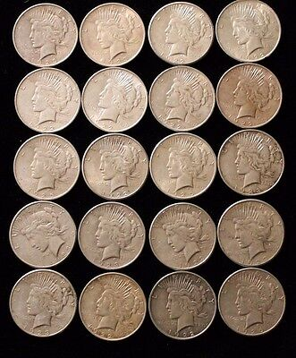 (20) Peace Silver Dollar - Roll of 20 coins  *Circulated* - Random Date 020