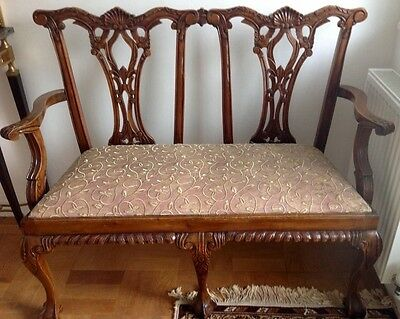 Antique Style Carved oak settle hall seat bench Gothic sofa