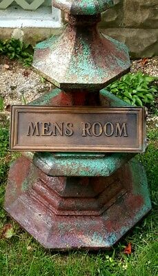1920's Solid Bronze Brass MENS ROOM Wall Mount Antique Plaque Signage