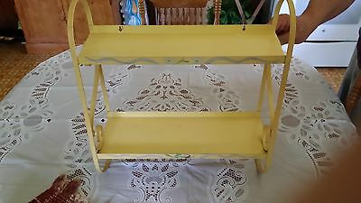 Vintage Ransburg Hand Painted Shelf In Yellow Floral-Tole