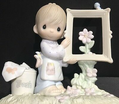 TO GOD BE THE GLORY Precious Moments Figurine E-2823 Boy FRAMED PICTURE 1983 MIB