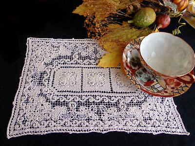 TWO Rustic Antique Italian Handmade Lace Mats from Sardinia - Floral Doilies