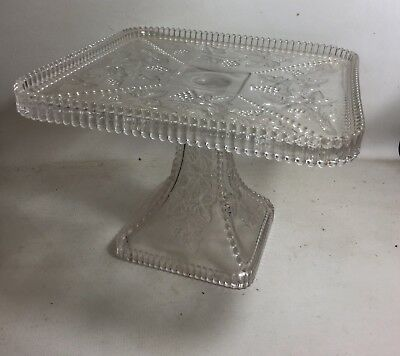 ANTIQUE VICTORIAN EAPG EARLY AMERICAN SQUARE GLASS CAKE STAND Stunning!