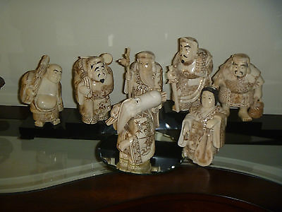 Antique - The Seven Lucky Gods - Exqusitley detailed Scrimshaw - Large Statues.