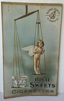 """1895 Antique Royal Sweets Cigarette Advertising 26"""" Sign Poster w/ Angel Girl"""
