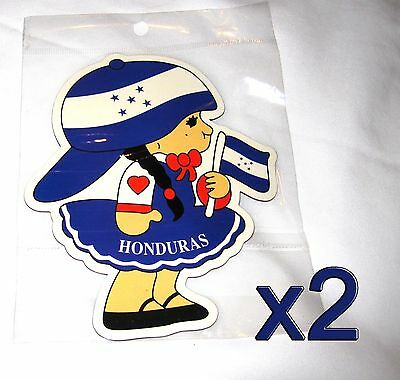 2 pack Honduras Flag Girl Magnets Fridge/Car/Locker UV protected Imán Bandera