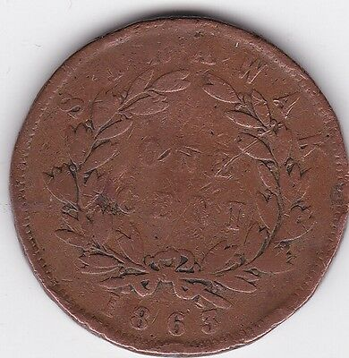 Sarawak 1863 first year of issue 1 cent coin