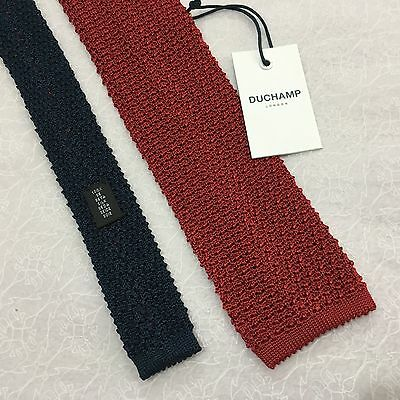 MENS DUCHAMP ITALIAN SILK 6.5cm MAROON NAVY KNITTED TEXTURED SQUARE END SILK TIE
