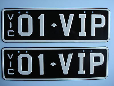 Victorian Number Plate 01-VIP  Genuine Vic Roads Issue Slimline Black and White