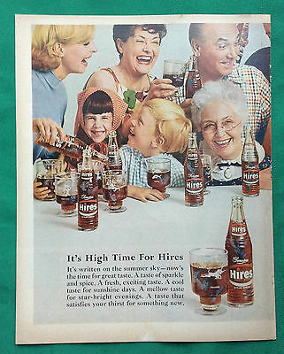 1967 Vintage Magazine Double Page Ad ~ Hires Root Beer