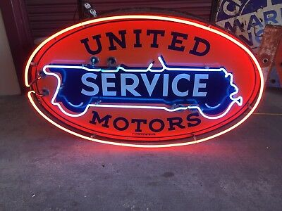 United Service Motors Neon Rare White Tire Double Sided Porcelain Sign