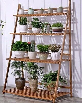 Bamboo Wooden Shelf Plant Stand Folding Multi Tier Ladder Storage Indoor Outdoor