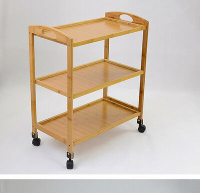 Bamboo multiple shelves drink food car on wheels serving tray bamboo storage