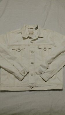 MEN'S LEVI'S OFF WHITE SLIM TRUCKER JEAN JACKET 100% Organic Cotton Size XL