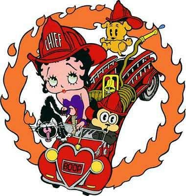 BETTY BOOP & Dog in FIRE Engine Truck Window Cling Decal Sticker - NEW