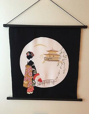 Vintage Japanese tapestry woven Silk wall hanging Art pictures
