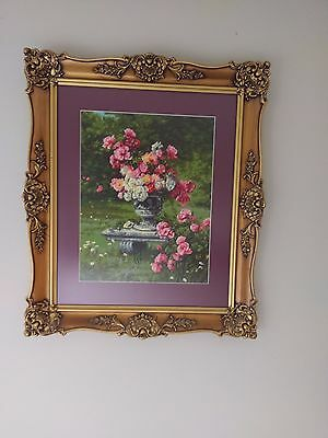 Tapestry Fine Wool Framed  Under Glass Of Flowers