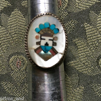 ZUNI INLAY RING,KACHINA HEAD,old PAWN,sterling,LARGE 11 1/2, heavy 29 gr.UNIQUE!