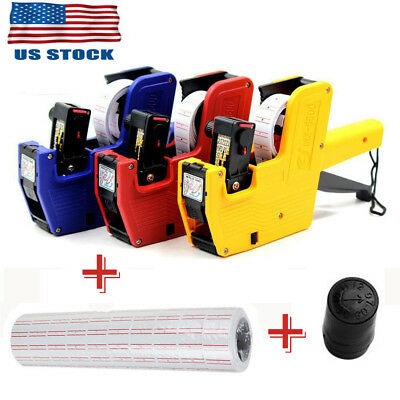 MX-5500 8 Digits EOS Price Label Tag Gun +500White / Red Lines Labels+1 Ink US