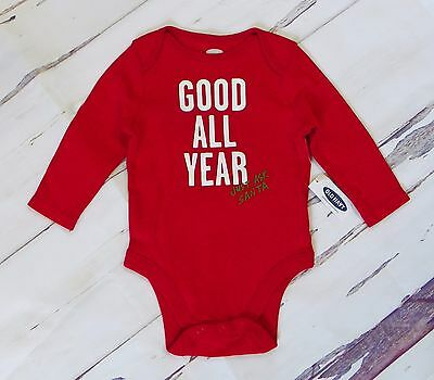 NEW Girls Boys OLD NAVY Red Long Sleeve Santa Cotton Bodysuit Size 3-6 Months