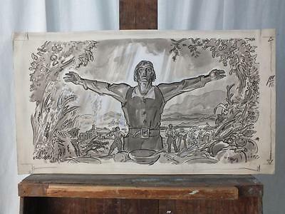 Original Published Illustration Drawing By Oscar Cesare - Thanksgiving