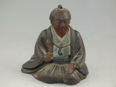 Nicely Carved Wooden Japanese Okimono Figure Of A Man