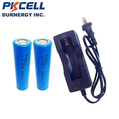 2 18650 Lithium Rechargeable Battery 2600mAh 3.7V Flat Top +18650 Charger PKCELL