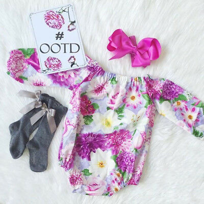 Newborn Baby Girls Floral Long Sleeve Romper Bodysuit Clothes Outfits US Stock